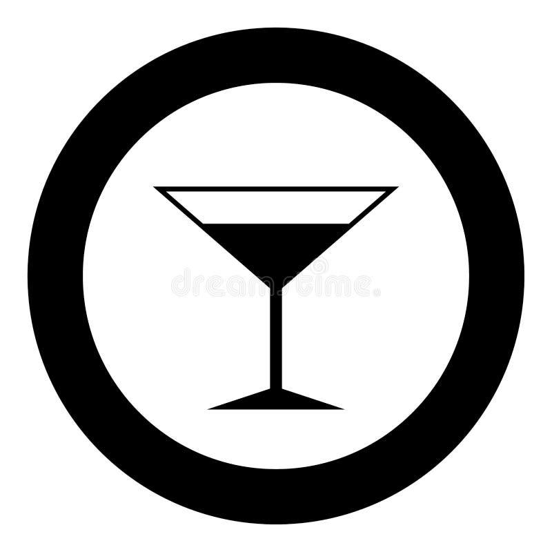 Colore del nero dell'icona di Martini nel cerchio o rotondo di vetro illustrazione di stock
