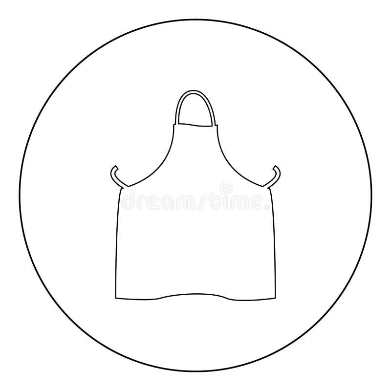 Colore del nero dell'icona del grembiule della cucina nel cerchio o rotondo illustrazione di stock