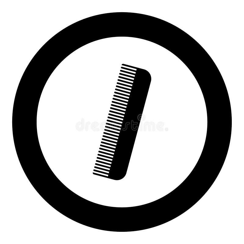 Colore del nero dell'icona del pettine nel cerchio illustrazione di stock