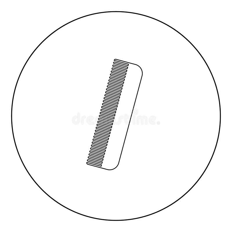 Colore del nero dell'icona del pettine nel cerchio royalty illustrazione gratis