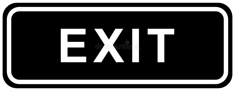 Colore del nero del segno dell'uscita illustrazione di stock