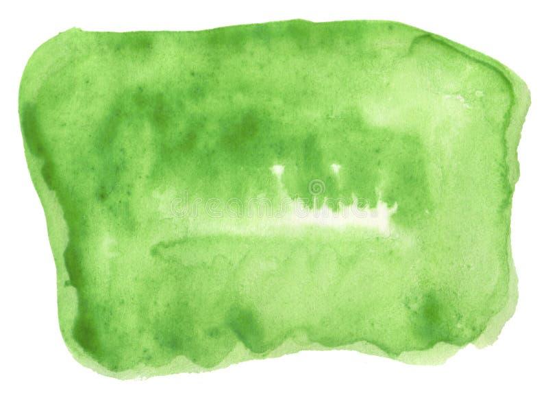 Colore dell'acquerello di giovane erba succosa, fondo astratto verde intenso, macchia, pittura della spruzzata, macchia, divorzio illustrazione di stock