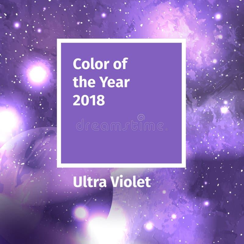 Colore dell'anno 2018 Tavolozza di tendenza di colore Fondo ultravioletto di colore del campione illustrazione di stock
