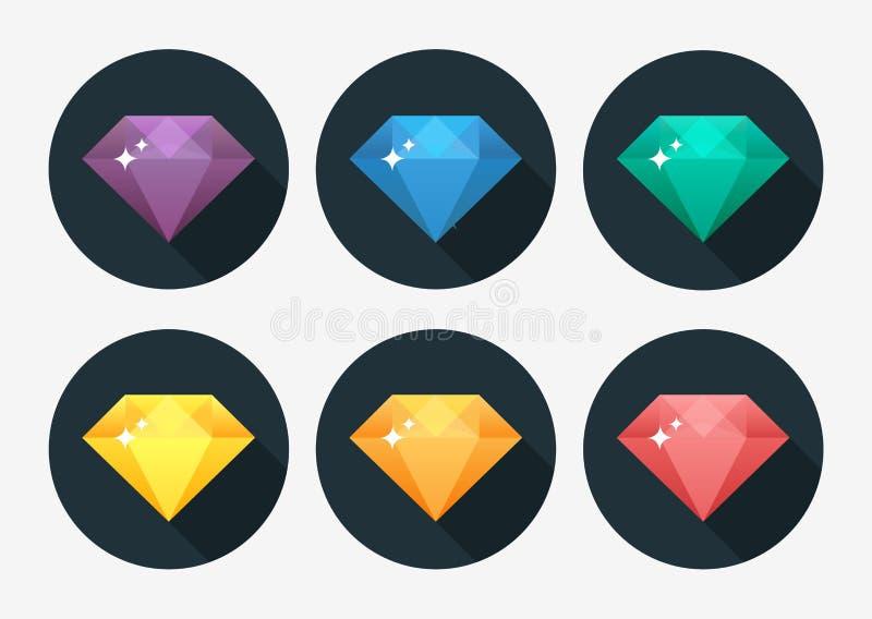 Colore dell'arcobaleno dell'icona della gemma e del diamante di vettore del fumetto isolato su fondo illustrazione di stock