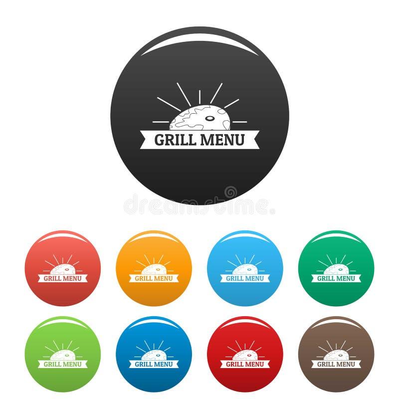 Colore dell'insieme delle icone del menu della griglia del Bbq illustrazione di stock