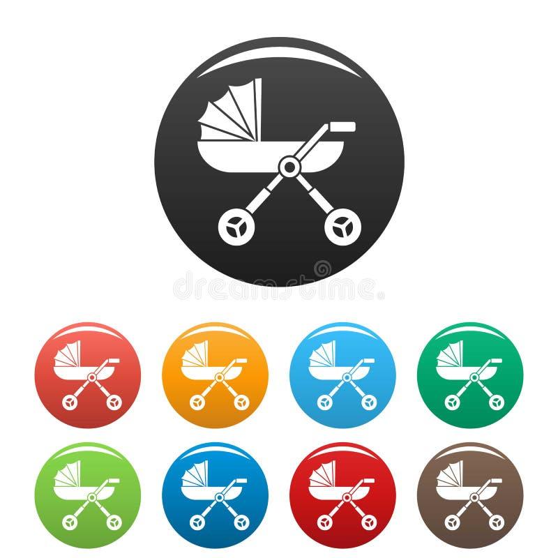 Colore dell'insieme delle icone del trasporto della carrozzina del bambino illustrazione vettoriale