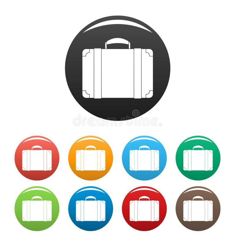 Colore dell'insieme delle icone della borsa dei bagagli illustrazione di stock