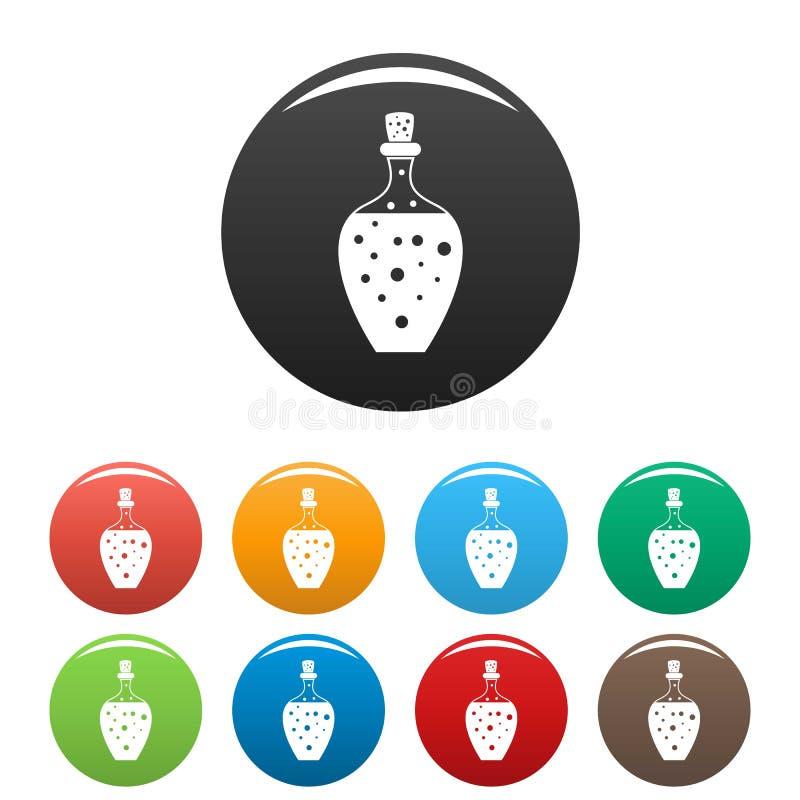 Colore dell'insieme delle icone della bottiglia della pozione royalty illustrazione gratis