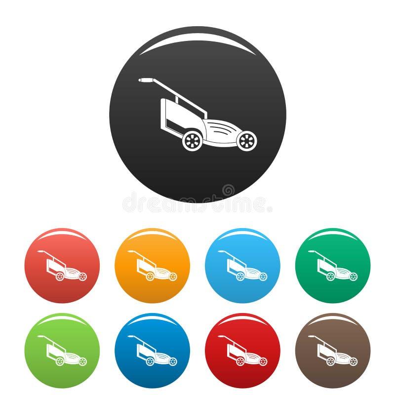 Colore dell'insieme delle icone della falciatrice da giardino illustrazione di stock