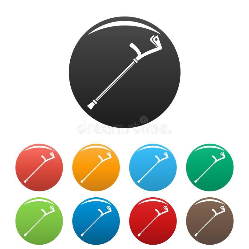 Colore dell'insieme delle icone della gruccia del gomito illustrazione vettoriale