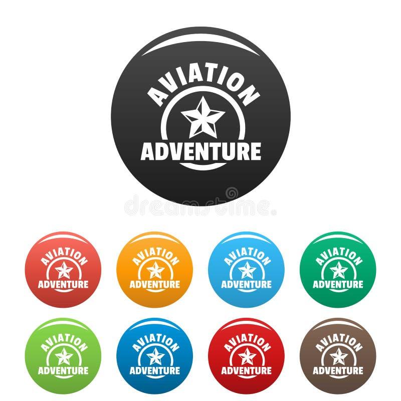 Colore dell'insieme delle icone di avventura di aviazione illustrazione vettoriale