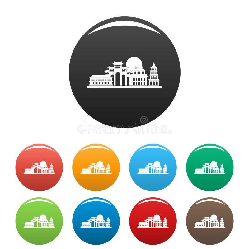 Colore dell'insieme delle icone di Taipei illustrazione vettoriale