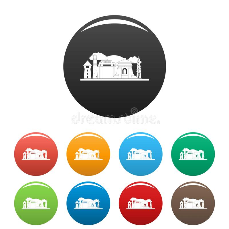 Colore dell'insieme delle icone di Taipei Taiwan illustrazione di stock