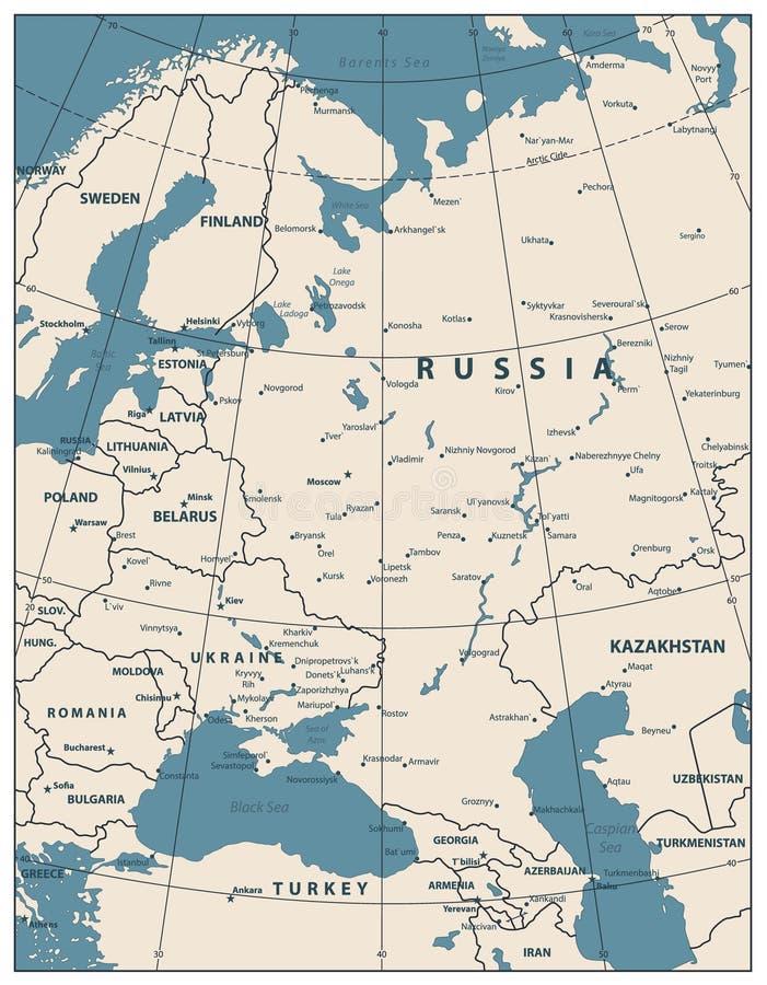Colore della mappa dell'Europa Orientale retro royalty illustrazione gratis