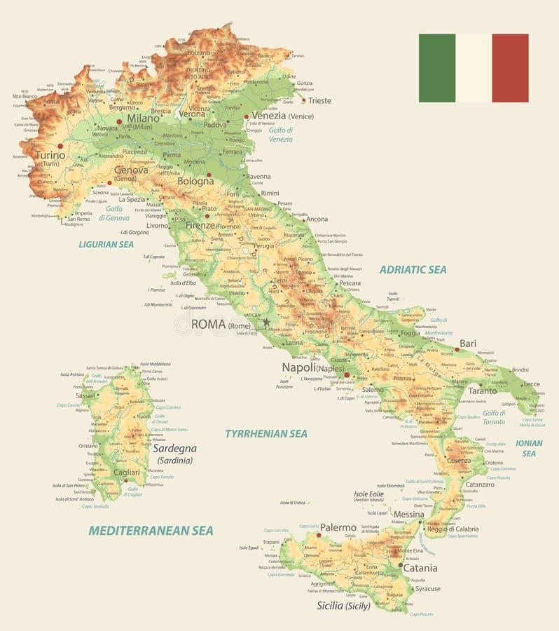 Cartina Dell Italia Solo Contorno.Colore Della Mappa Fisica Dell Italia Retro Illustrazione Vettoriale Illustrazione Di Alpi Territorio 146506840