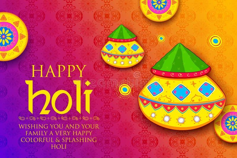 Colore della polvere gulal per il fondo felice di Holi royalty illustrazione gratis