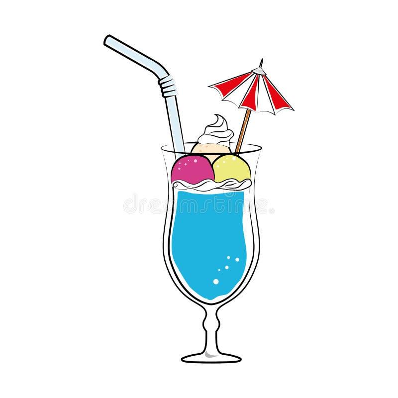 Colore della siluetta con la bevanda del cocktail con i frutti e paglia ed ombrello decorativo royalty illustrazione gratis
