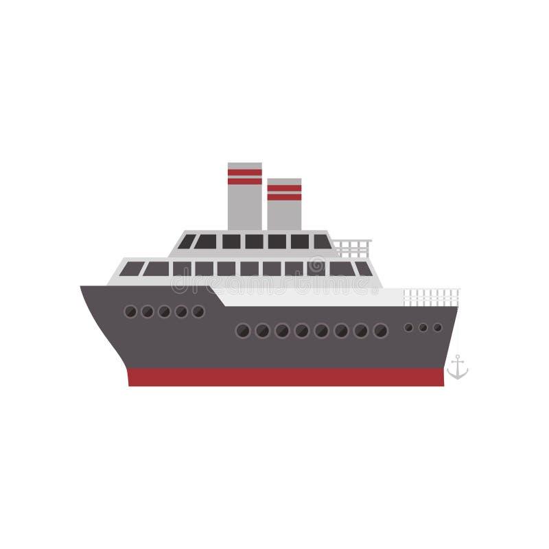 Colore della siluetta con la nave da crociera illustrazione vettoriale