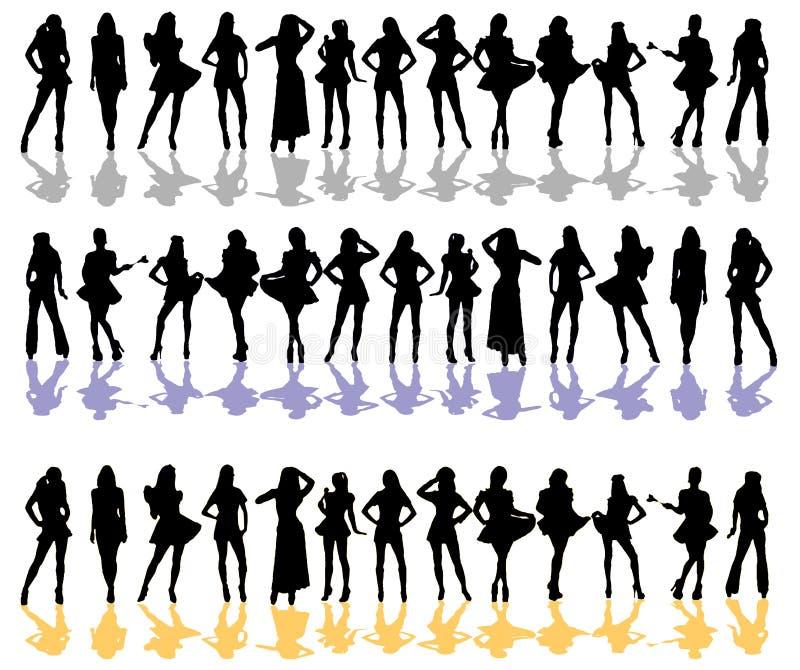Colore della siluetta delle donne illustrazione vettoriale