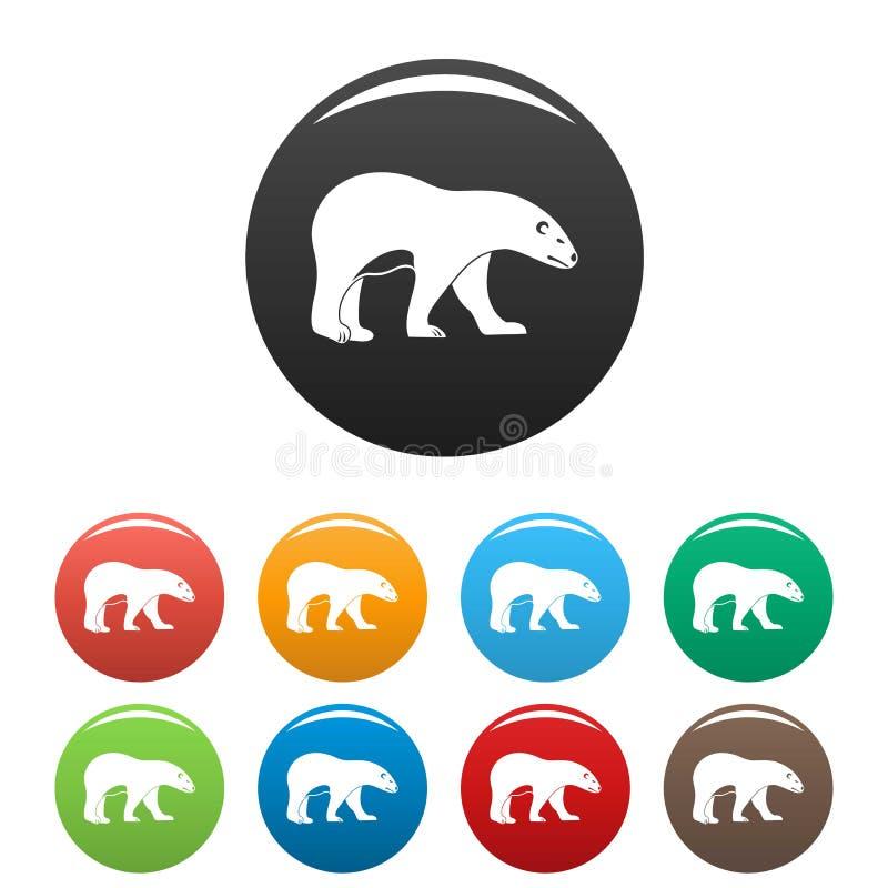Colore di camminata dell'insieme delle icone dell'orso polare royalty illustrazione gratis