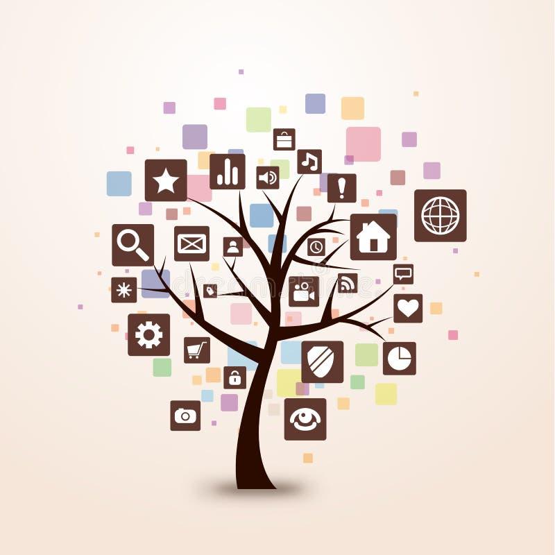 Colore di concetto dell'albero dell'icona di Web retro illustrazione di stock