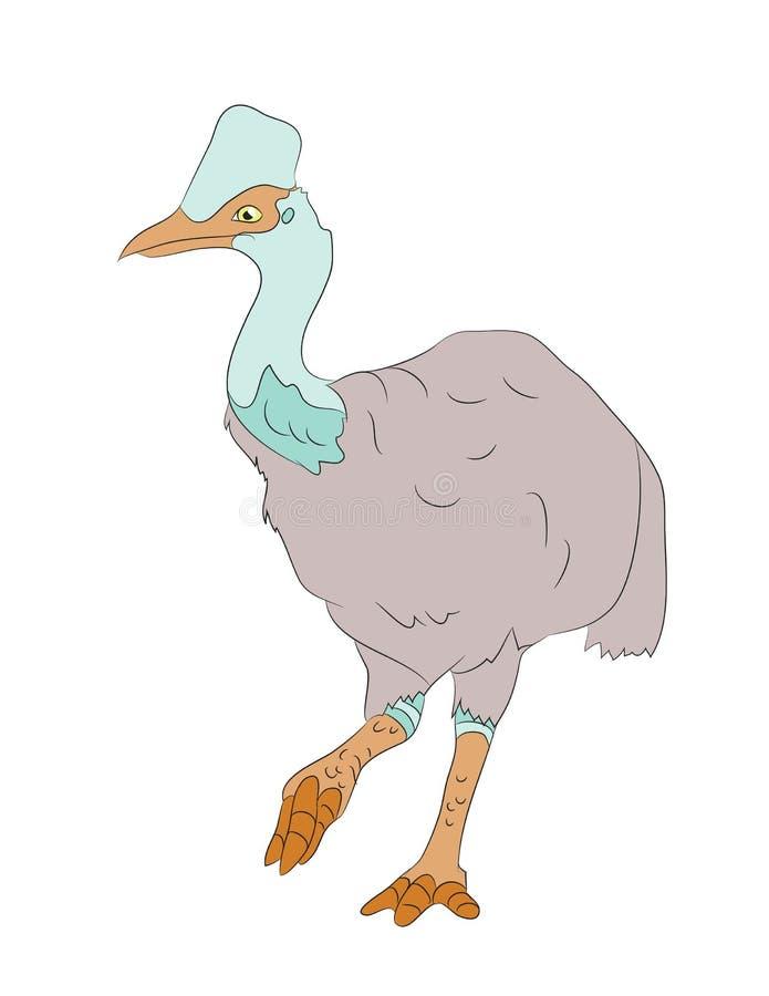 Colore di disegno del dinosauro dell'uccello, vettore illustrazione di stock