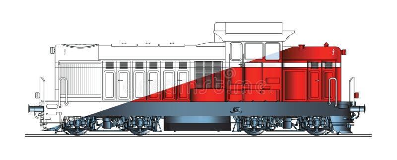 Colore di disegno dell'estratto della locomotiva diesel royalty illustrazione gratis