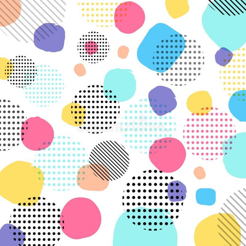 Colore di pastelli moderno astratto, modello di punti nero con le linee diametro royalty illustrazione gratis