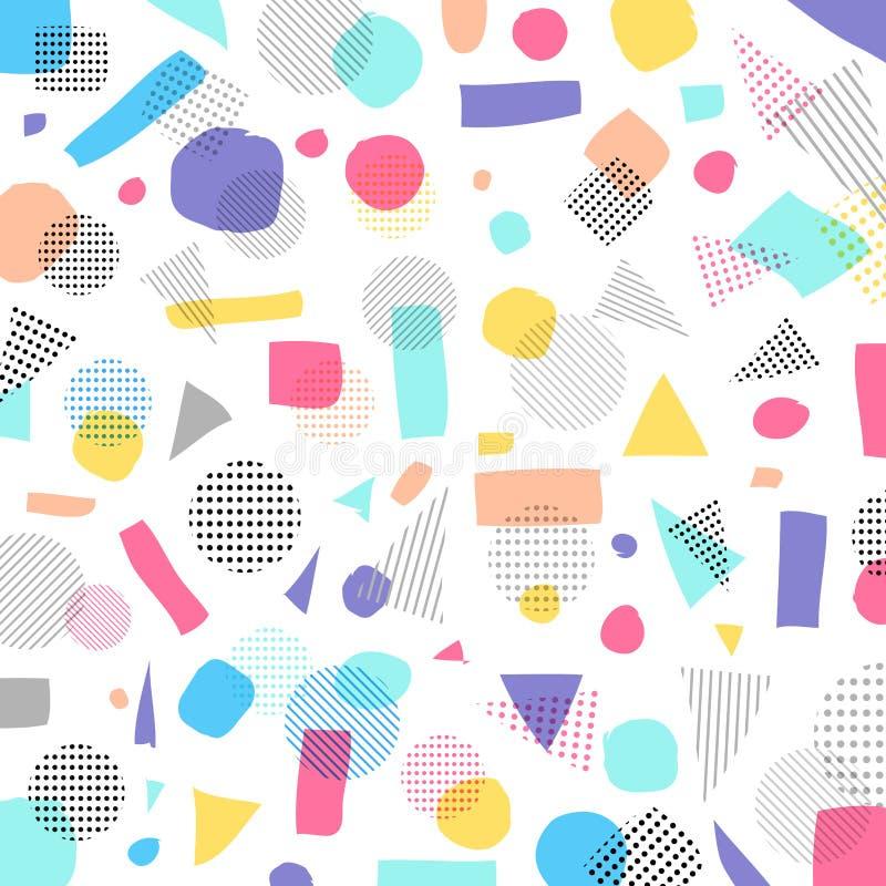 Colore di pastelli moderno geometrico astratto, modello di punti nero con illustrazione vettoriale