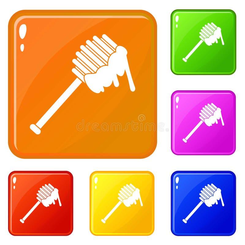 Colore di vettore dell'insieme delle icone del cucchiaio del miele royalty illustrazione gratis