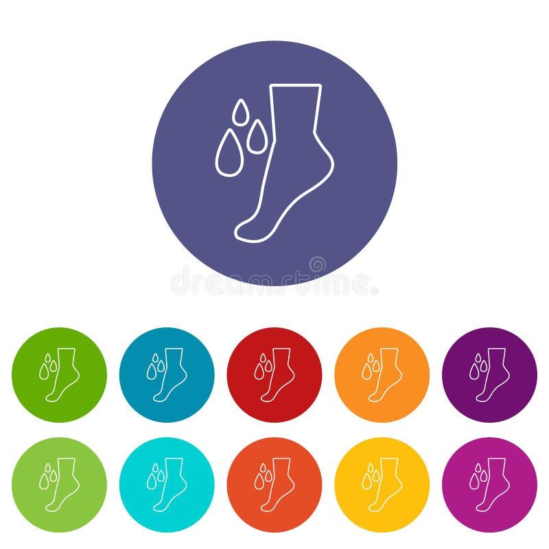 Colore di vettore fissato icone di cura dei piedi illustrazione di stock
