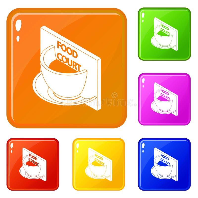 Colore di vettore fissato icone della corte di alimento illustrazione di stock