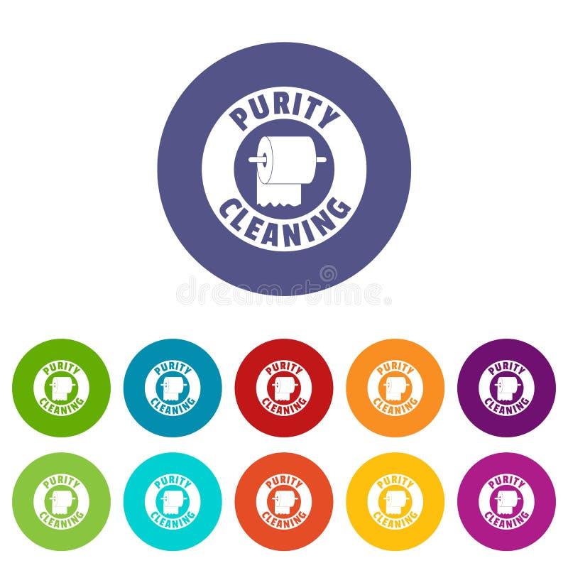 Colore di vettore fissato icone della toilette di pulizia illustrazione vettoriale