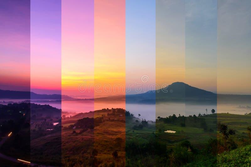 Colore differente dell'ombra della foschia alla montagna con luce solare immagini stock libere da diritti