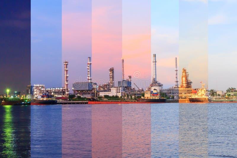 Colore differente dell'ombra della raffineria di petrolio al fiume nel tempo di tramonto fotografia stock