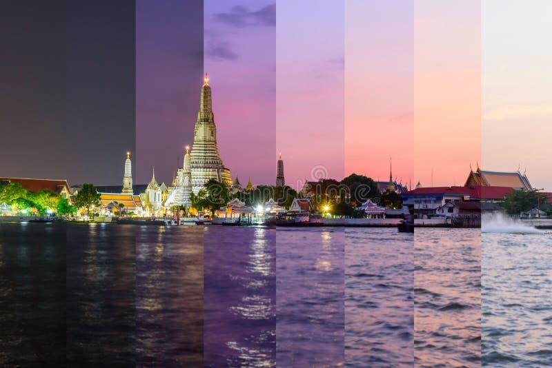 Colore differente dell'ombra di Wat Arun Ratchawararam Ratchawaramahawihan con le riflessioni sul fiume immagine stock