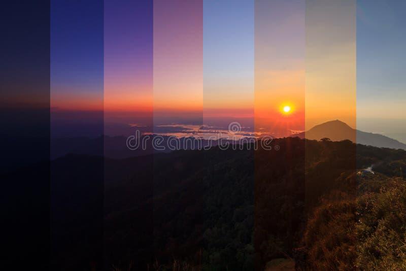 Colore differente dell'ombra nello stesso telaio dell'alta montagna nel tempo di tramonto fotografia stock libera da diritti