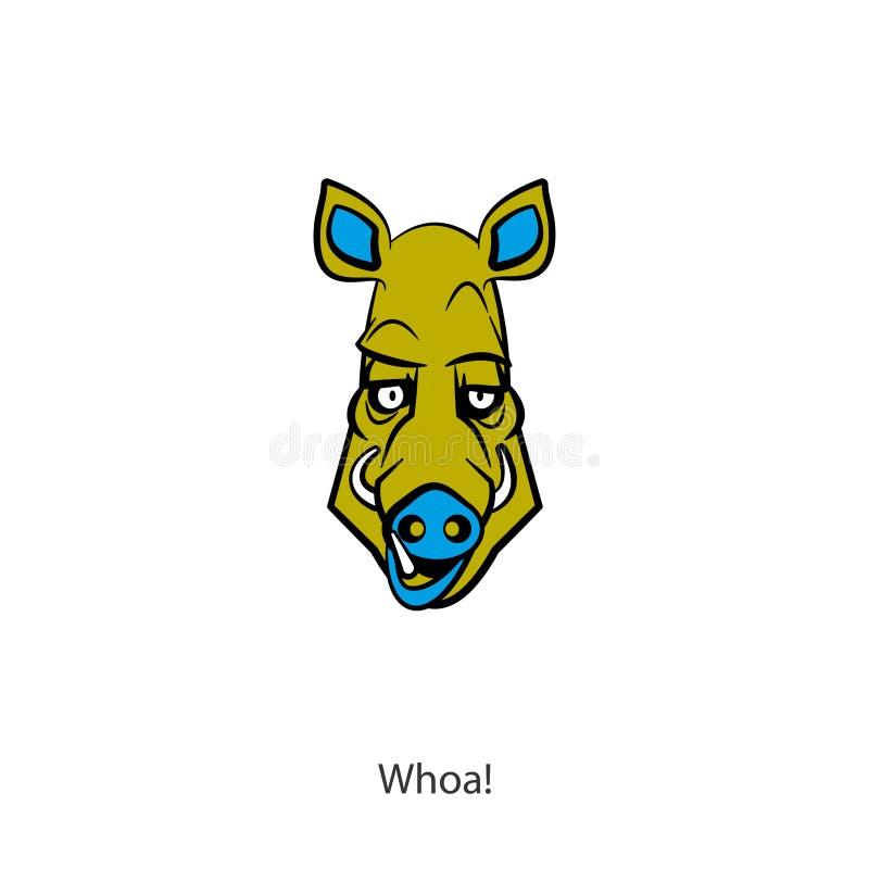 Colore divertente del cinghiale della testa royalty illustrazione gratis