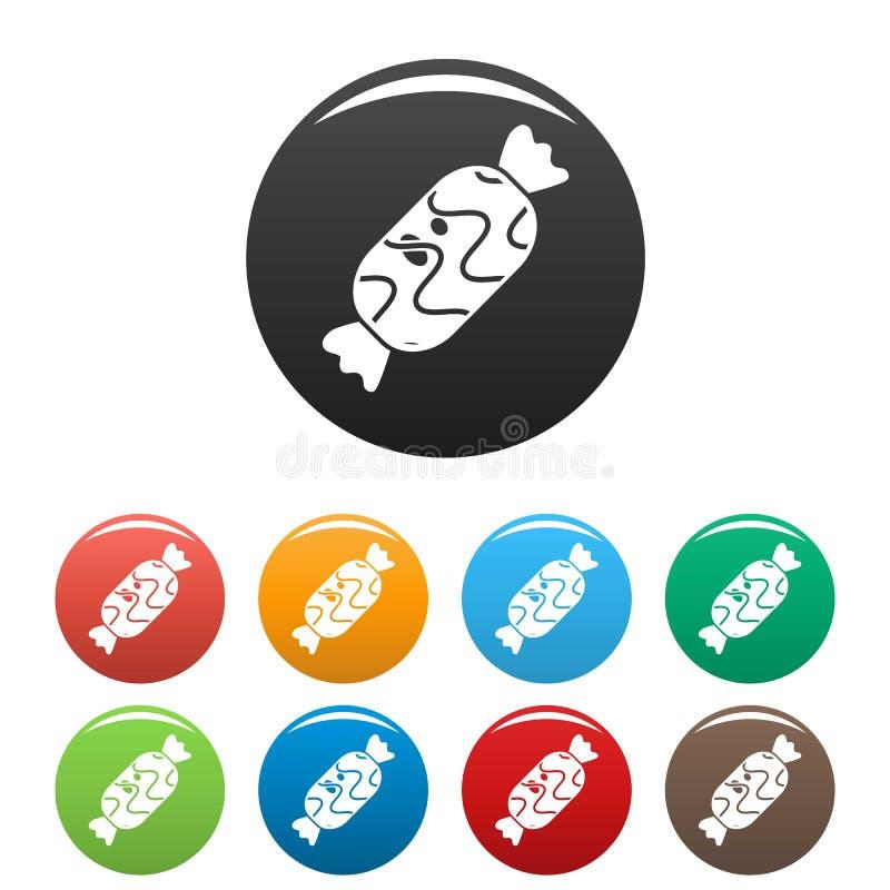 Colore dolce dell'insieme delle icone di Choco illustrazione vettoriale