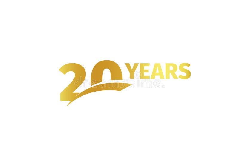 Colore dorato isolato numero 20 con l'icona di anni di parola su fondo bianco, elemento della cartolina d'auguri di anniversario  illustrazione vettoriale
