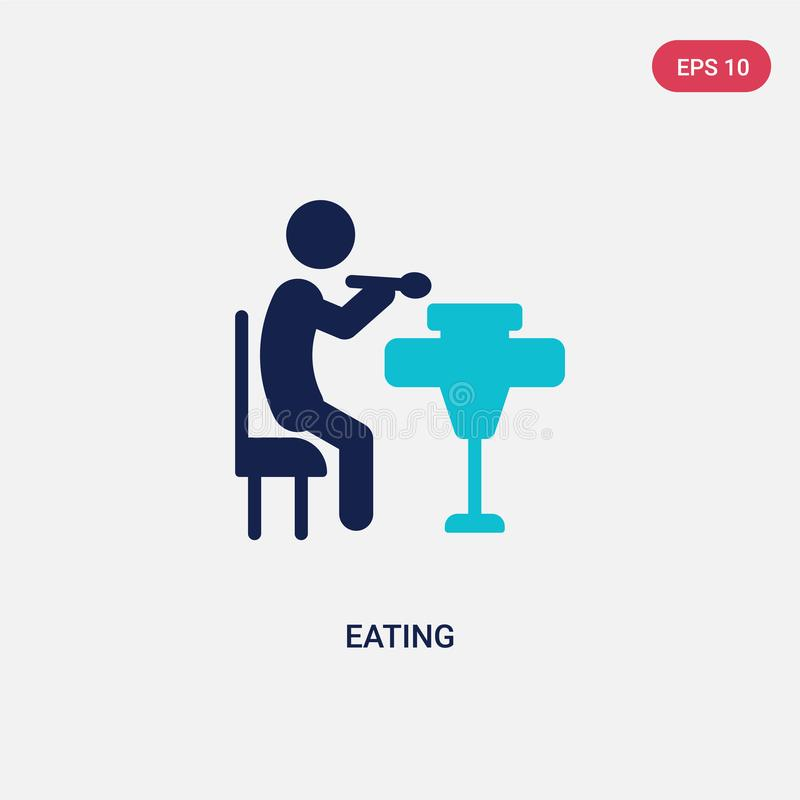 colore due che mangia l'icona di vettore da attivit? e dal concetto di hobby il simbolo blu isolato del segno di vettore del cibo royalty illustrazione gratis