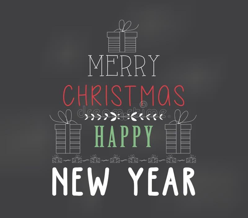 Colore felice del gesso di Buon Natale del manifesto royalty illustrazione gratis