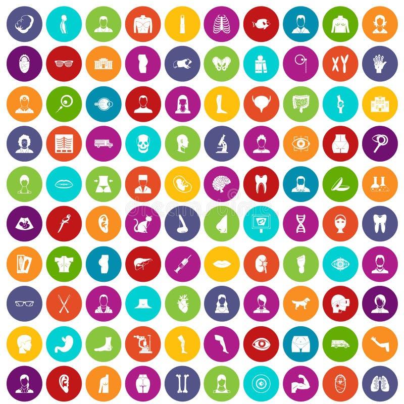 100 colore fissato dell'organo icone royalty illustrazione gratis