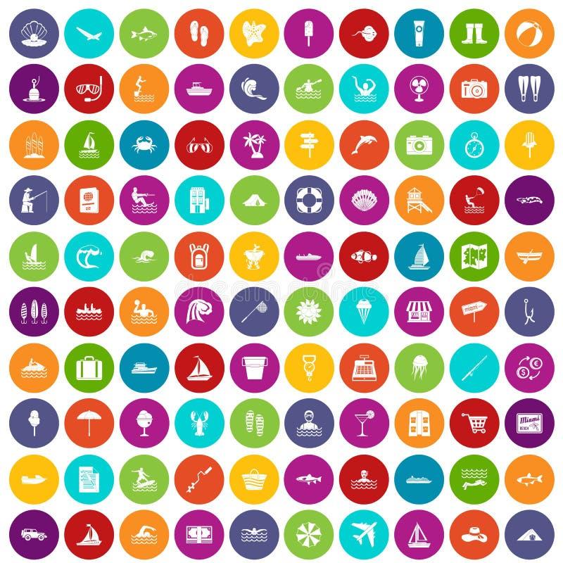 100 colore fissato di ricreazione dell'acqua icone royalty illustrazione gratis