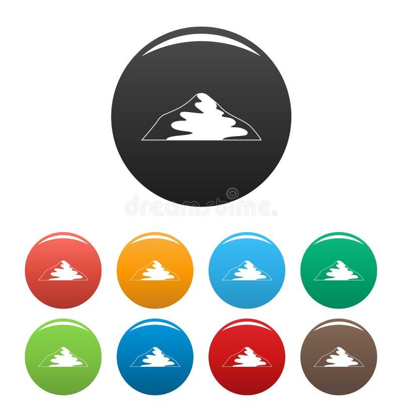 Colore fissato icone asiatiche della montagna illustrazione di stock