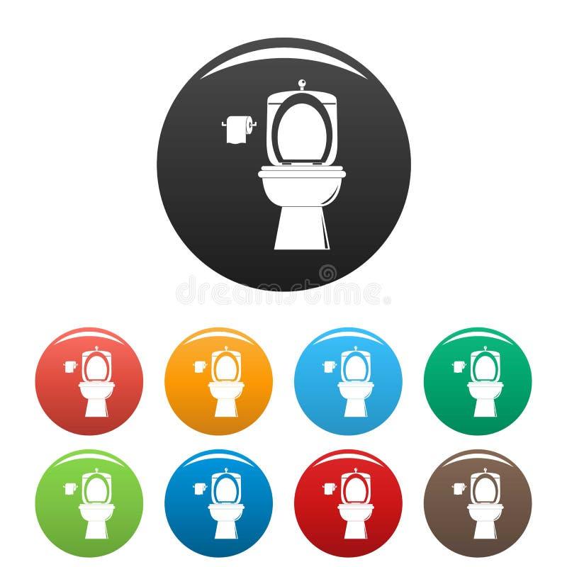 Colore fissato icone ceramiche della toilette royalty illustrazione gratis