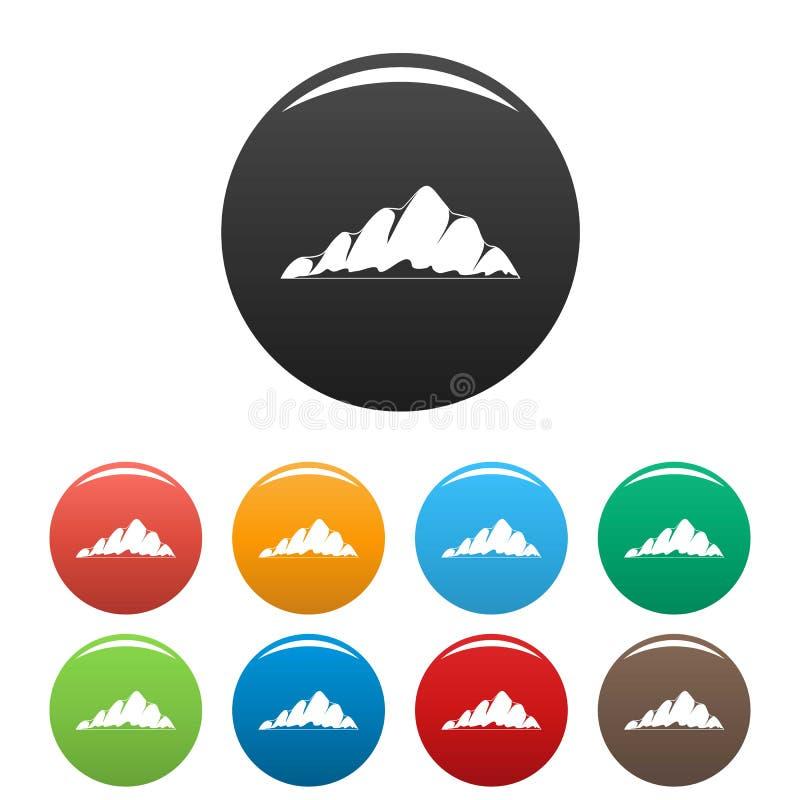 Colore fissato icone del paesaggio della montagna royalty illustrazione gratis