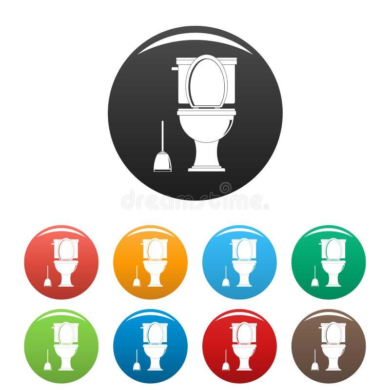 Colore fissato icone della toilette di comodità illustrazione di stock