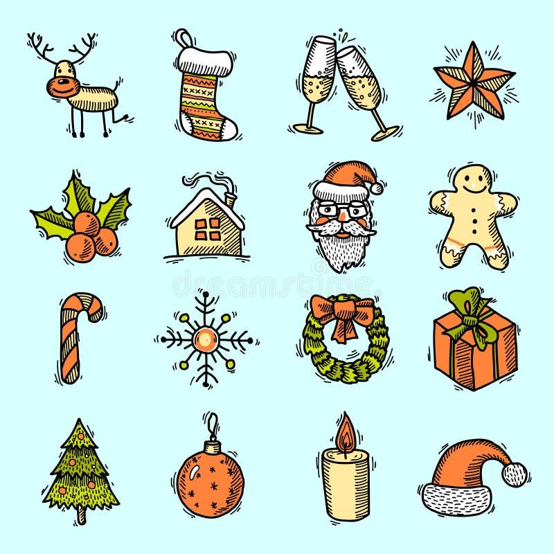 Colore fissato icone di Natale illustrazione vettoriale