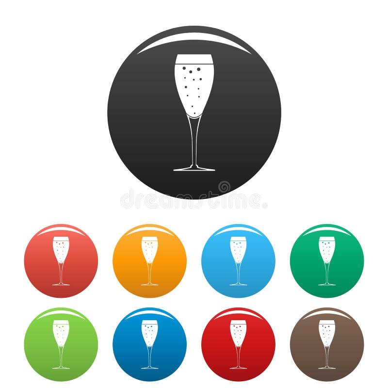 Colore fissato icone di vetro complete illustrazione vettoriale